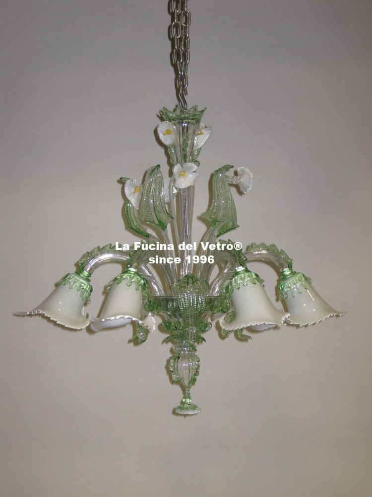"Murano glass chandelier ""aquatic glass paste"" – shop on line"