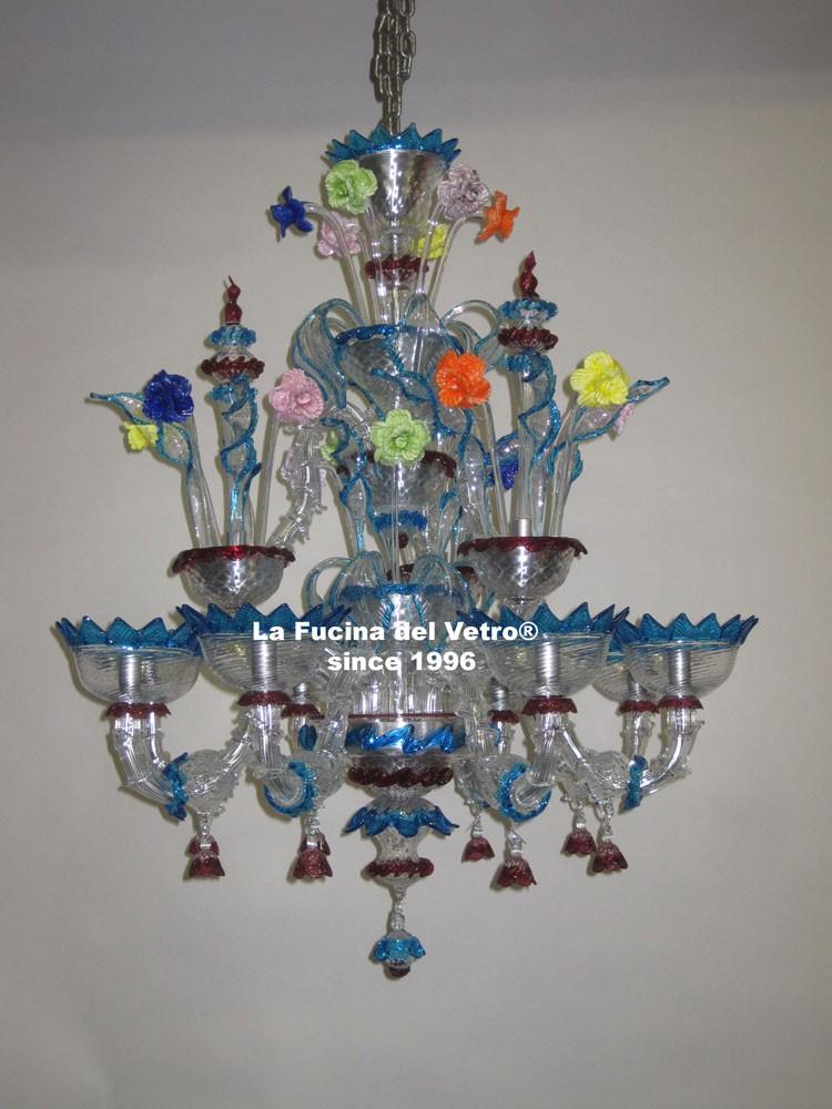 Lampadario in vetro di murano minirezzonico classico for Immagini lampadari moderni