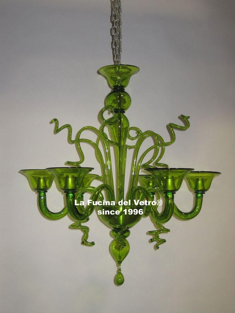 lampadario vetro colorato : Lampadario in vetro di Murano